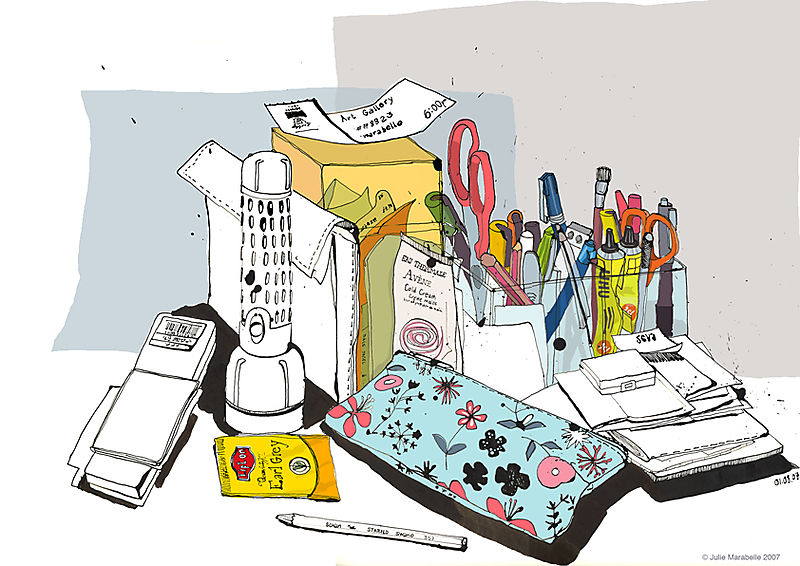 Messy desk J Marabelle
