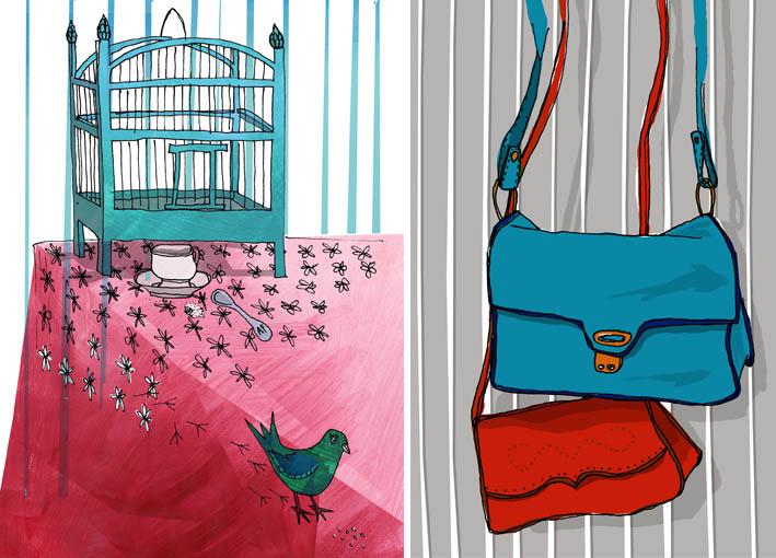 Handbags and cage