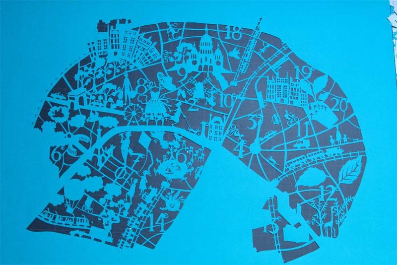 Paper cut map paris 3