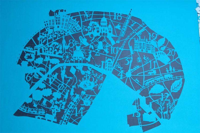 Paper cut map paris 3