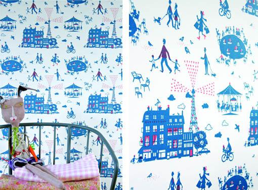 un dimanche paris wallpaper famille summerbelle. Black Bedroom Furniture Sets. Home Design Ideas