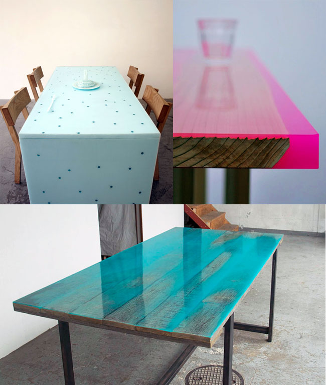 Coloured Resine Tables