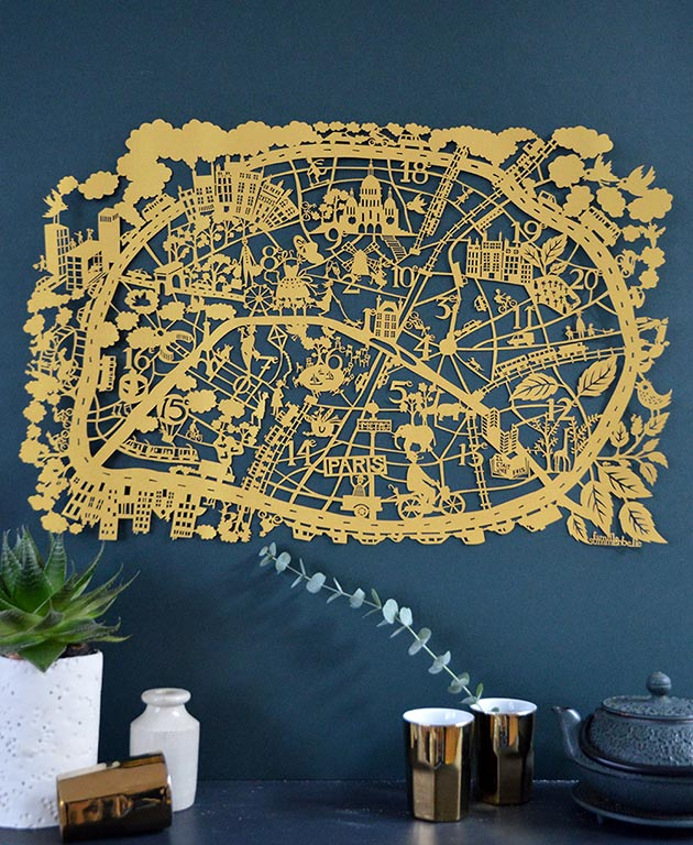 Paris-Gold-paper-cut-map-by-Famille-Summerbelle