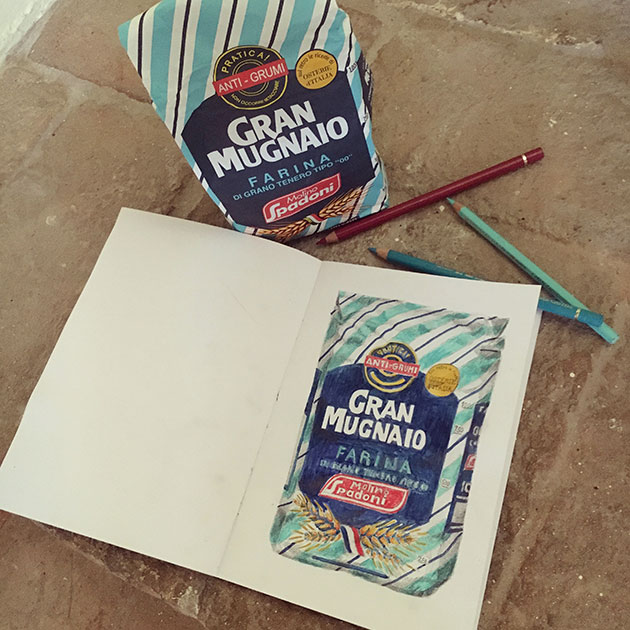 Sketching-Italian-Flour-packaging