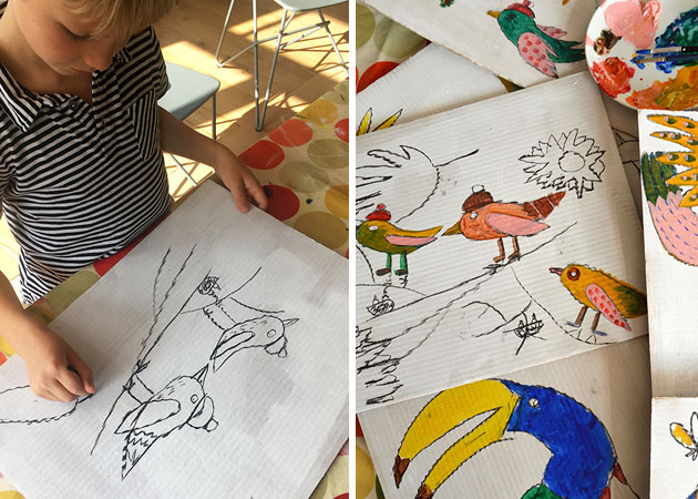 7-years-old-Lucien-painting-birds