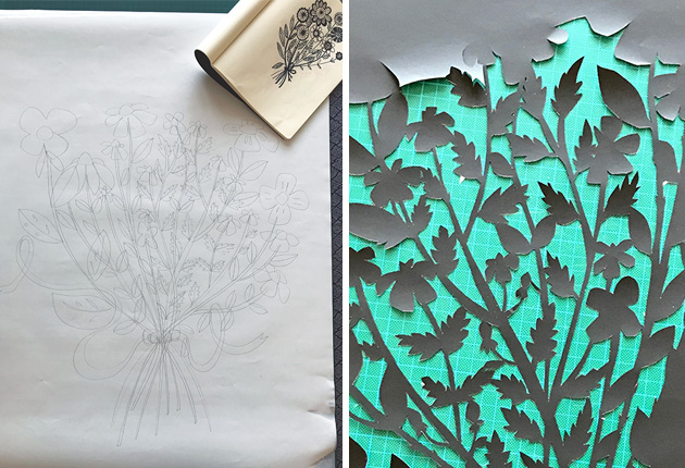 Bouquet-paper-cut-by-J-Marabelle-work-in-progress