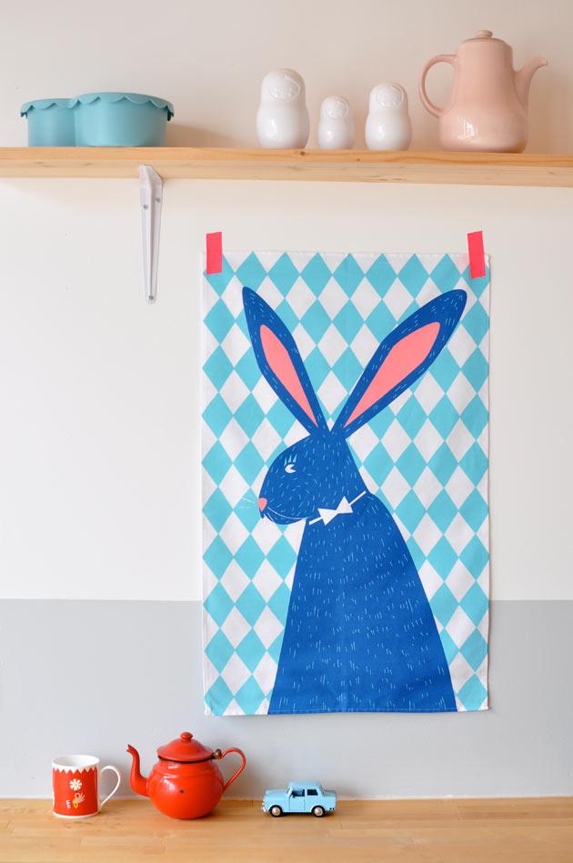 RabbitTeaTowelFamilleSummerbelle