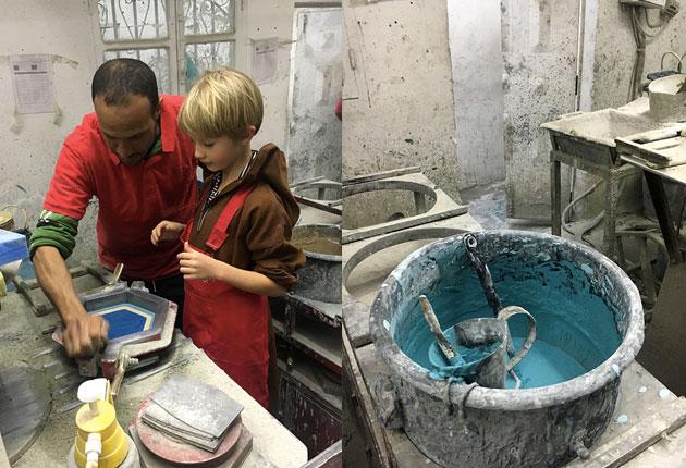 Lucien-making-a-cement-tile