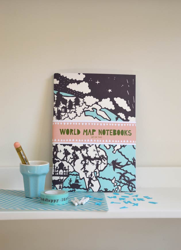 World map Notebook by Famille Summerbelle