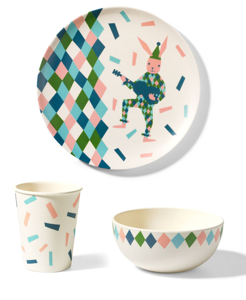 Circus-Rabbit-Plate-Set