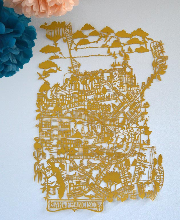 San-Francisco-Gold-paper-cut-map-by-Famille-Summerbelle