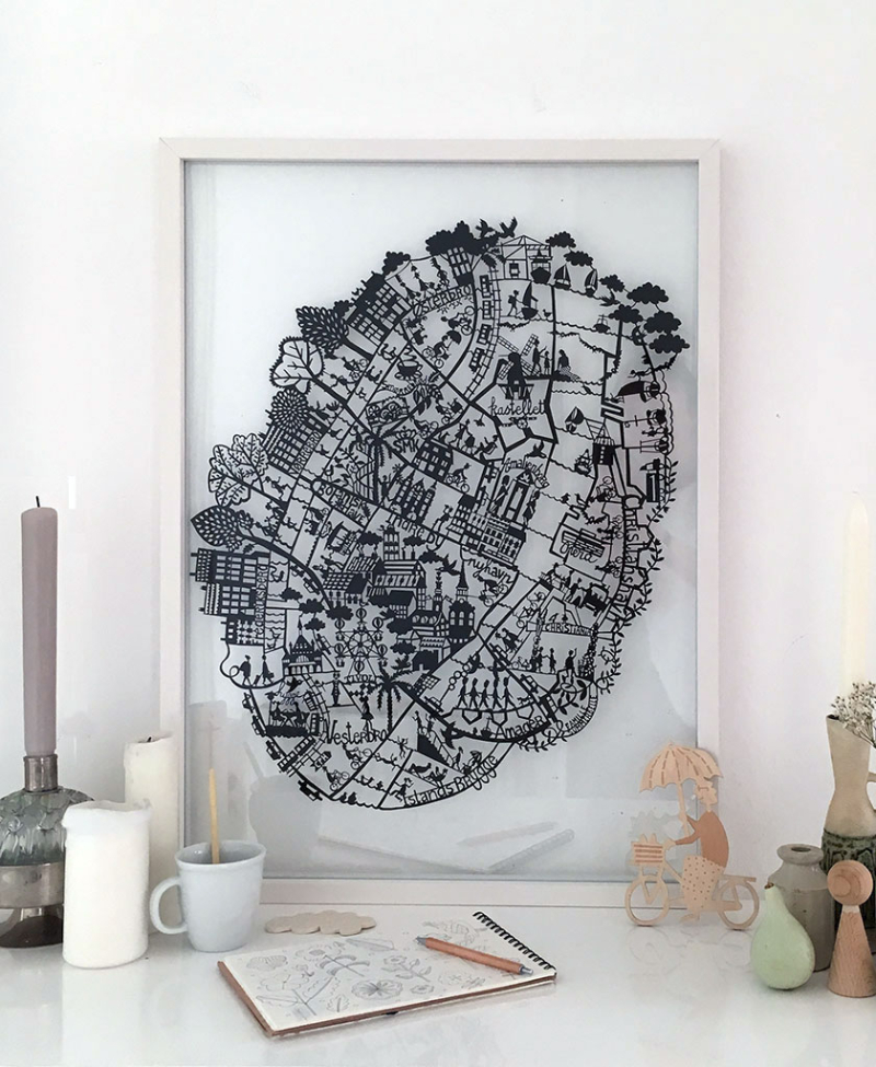 Copenhagen-map-Paper-cut-Black