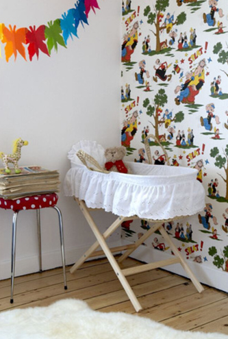 Here is a mix of funky wallpapers, chalkboard paint to draw on the walls and